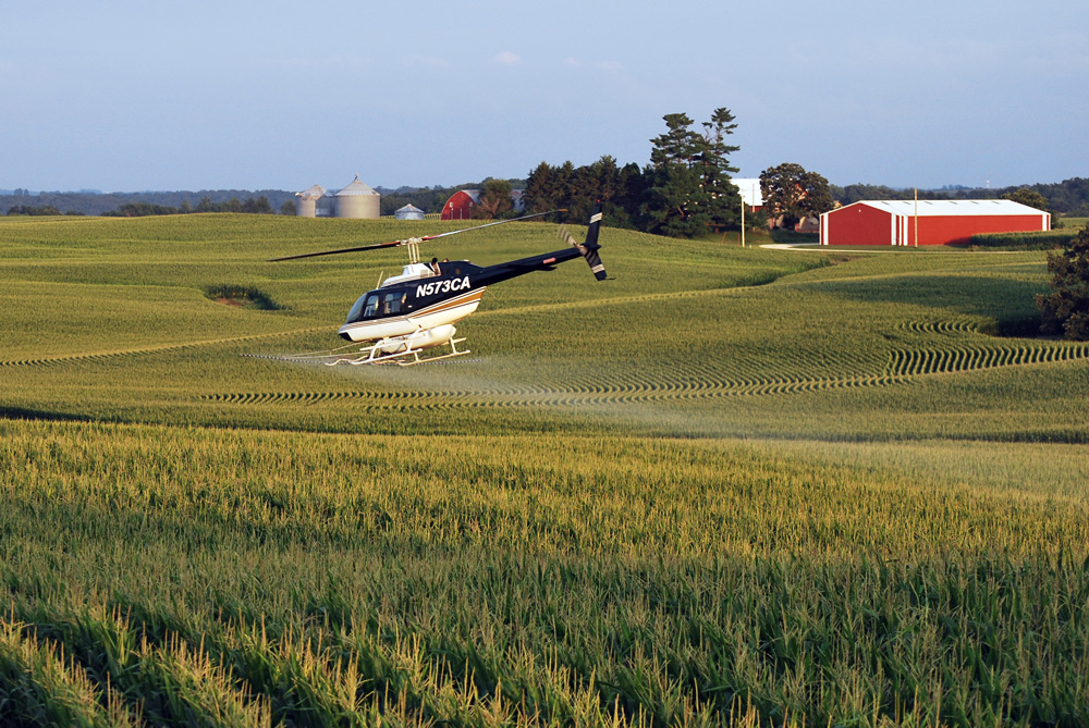 Aerial application over corn field